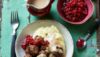 Swedish Meatballs, cream gravy and lingonberry compote