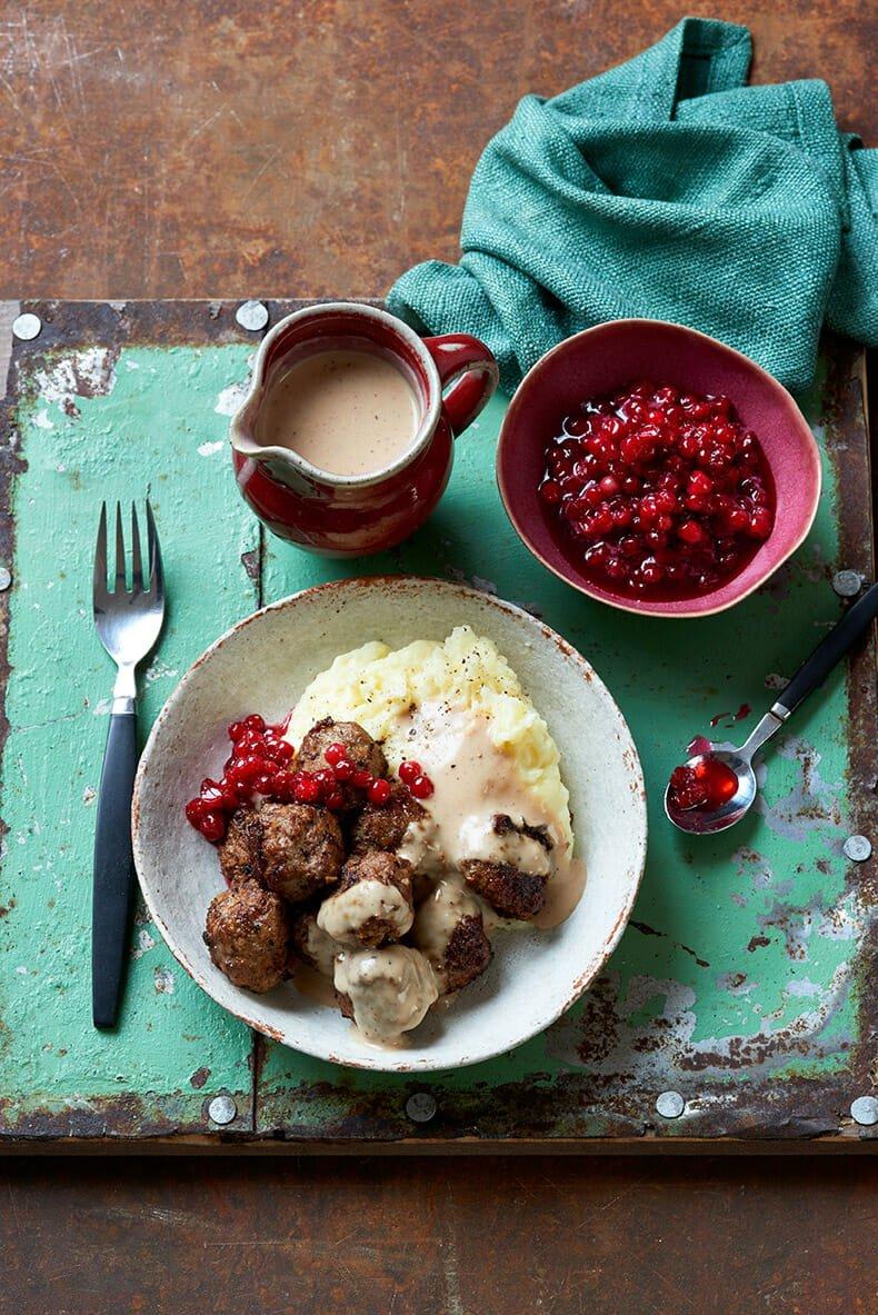 Swedish Meatballs, cream gravy and lingonberry compote
