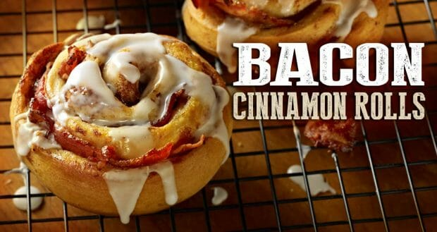 Cinnamon roll with bacon